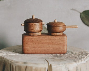 playing stove with utensils wooden toys Tateplota wooden dollhouse furniture kitchenware Dollhouse furniture natural toys