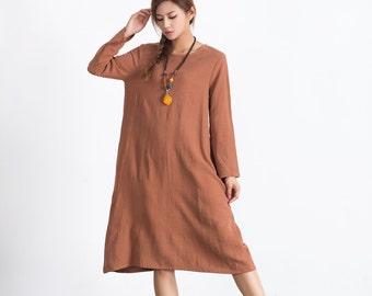 Women's cotton linen dress long sleeves Midi length linen dress oversize loose linen cotton caftan bridesmaid dress linen kaftan dress  A98