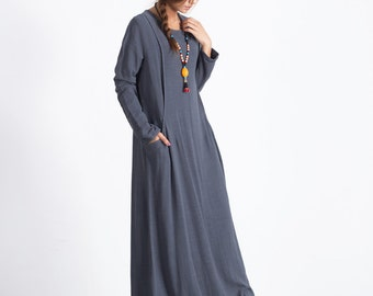 Women's maxi dress pockets-2 linen cotton pullover dress plus size clothing Loose Kaftan large size dress Custom made clothing A35