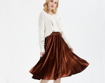 c9a15d9c7cba0 Women s velvet skirt Umbrella skirt A-line Velvet Skirt Elastic waist plus  size skirt Vintage Skirt Stretch Skirt