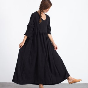 Women/'s linen maxi dress linen long sleeves pullover Loose Kaftan dress scoop neck caftan plus size clothing Spring Summer maxi dress  A59