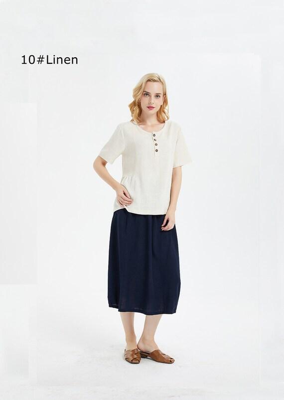ec83292f05aa8 Women s linen cotton pullover short sleeves shirt linen