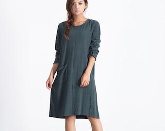 Linen dresses with pockets women long sleeve knee length dress Oversize loose linen cotton caftan large size dress plus size dress  A13