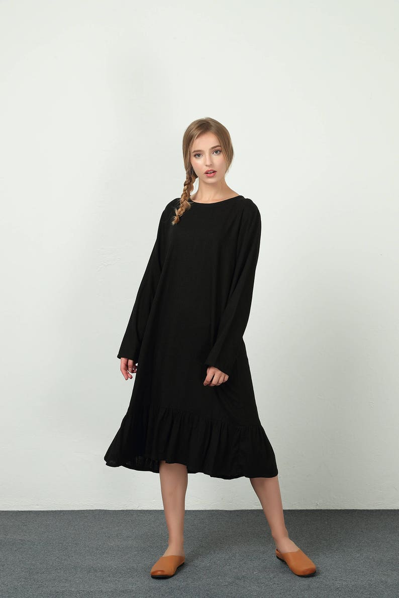 e46048dc25369 Women s Loose maxi dress cotton Linen fold kaftan spring