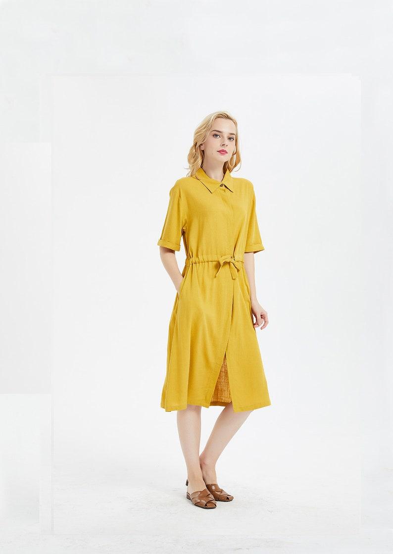 1639633c9d08 Women's linen midi dress long shirt loose linen cotton | Etsy