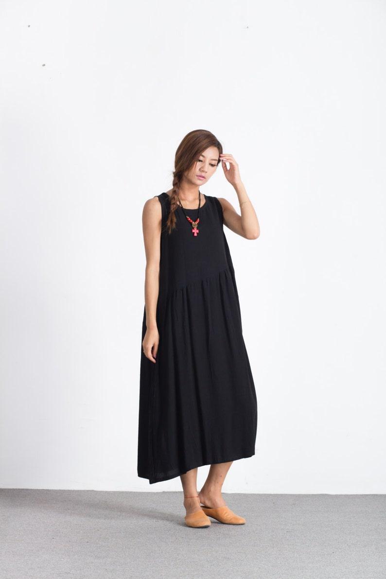 e3c4c86caa Women's Loose fitting dress oversize linen kaftan Scoop neck linen dress  plus size clothing large size dress Custom-made clothing A25