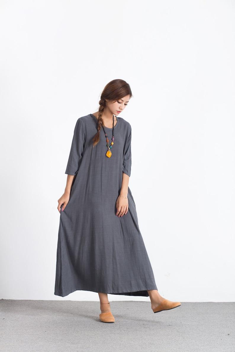 Short Sleeves Summer maxi linen Dresses Oversize Loose Casual linen cotton dress women/'s caftan plus size clothing large size dress A70