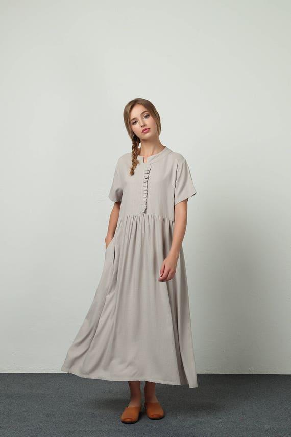 10b68b16b71f6 Women s linen maxi dress cotton linen casual kaftan