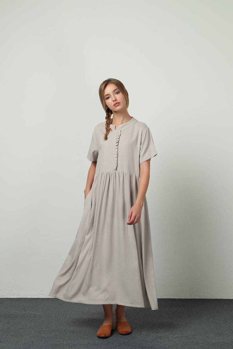 4e3e685ff40 Women s linen maxi dress cotton linen casual kaftan