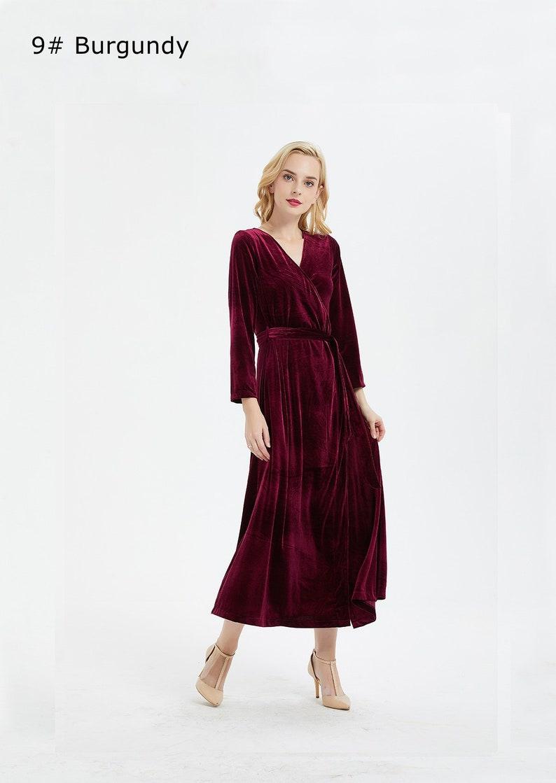 Women\'s velvet dress V-neck pajamas style Long sleeve | Etsy