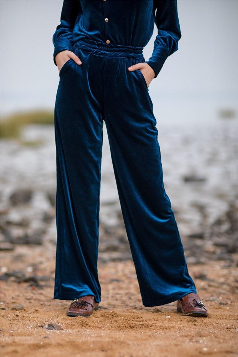 Women\'s velvet pants Elastic waist Wide leg pants loose | Etsy