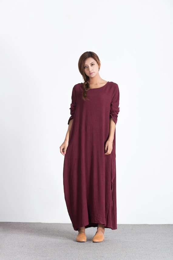 New Design Long Sleeves Dress  Cotton Dresses Long Soft Caftan Casual Loose Maxi Dress Spring Fall Customized Plus Size Clothing Linen