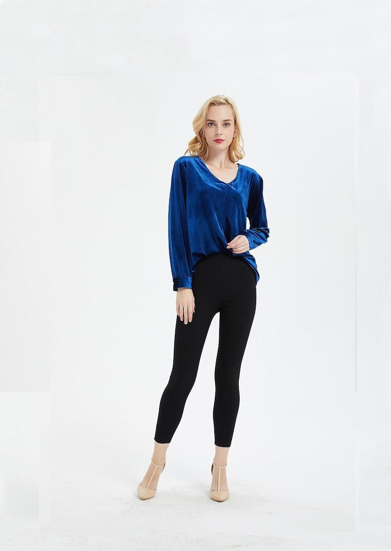 6c183aee8d9a98 Women's velvet shirt top long sleeve top V-neck Short top | Etsy