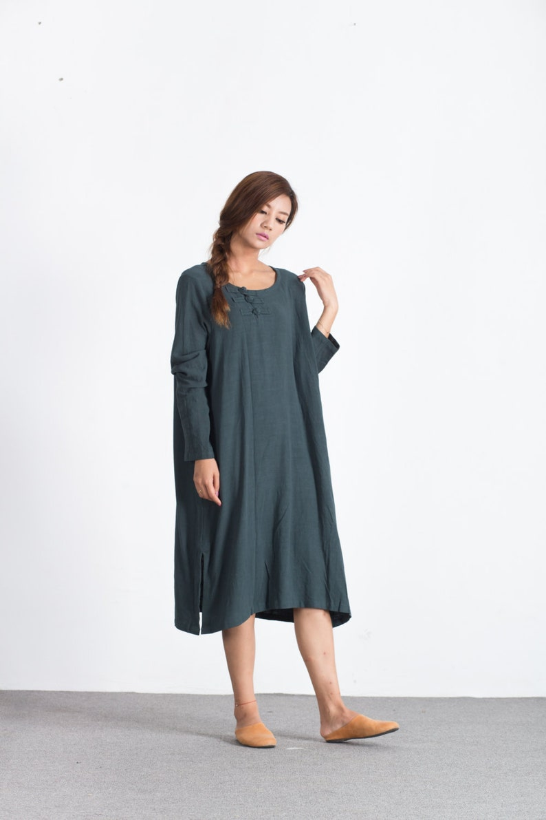 Sellse Womens Linen Loose Soft Casual Bridesmaid Caftan Large Size Dress Cotton Clothing