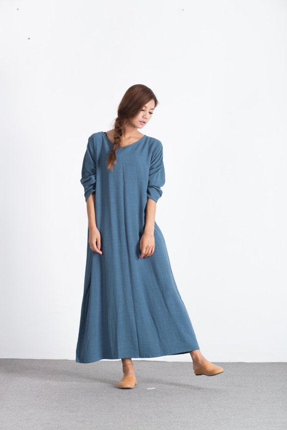 Women/'s linen long sleeves maxi dress Oversize linen Bridesmaid scoop neck dress plus size clothing Loose Kaftan large size dress  C18