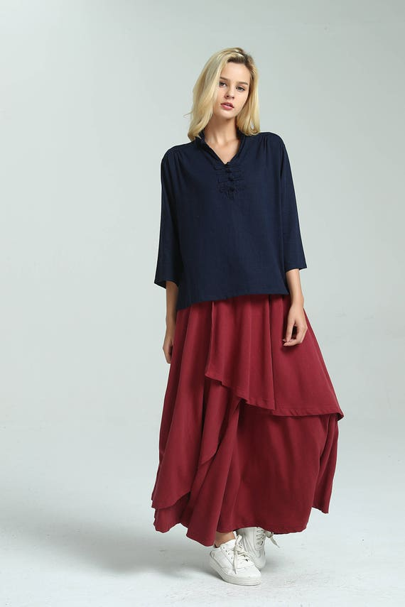 8ea125b34deb6 Women s maxi T-shirt 3 4 sleeves linen cotton pullover