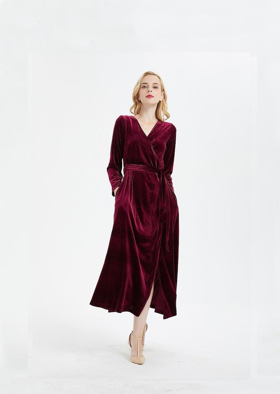 Women's Burgundy Velvet Dress Wrap Dress Long Sleeve Robe image 2