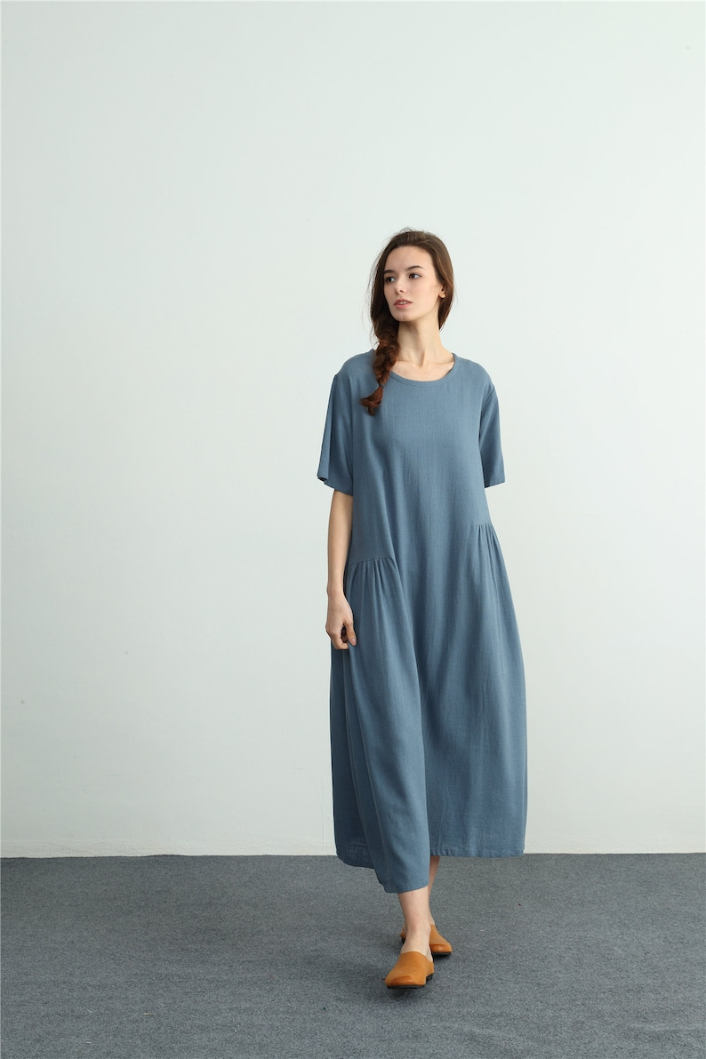 ad3e10175b525 Women s loose linen cotton kaftan linen maxi dress
