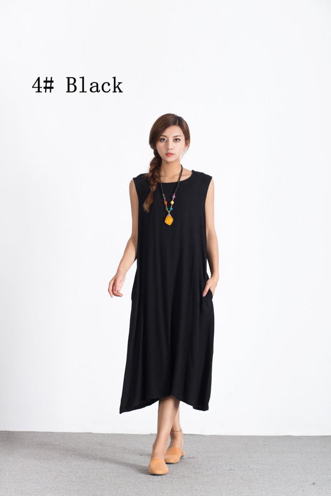 Women's maxi dress Sleeveless linen Loose dress oversize