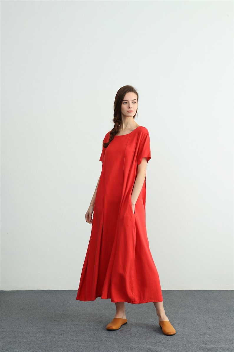 57041a919810d Women s linen maxi dress oversize bridesmaid dress loose