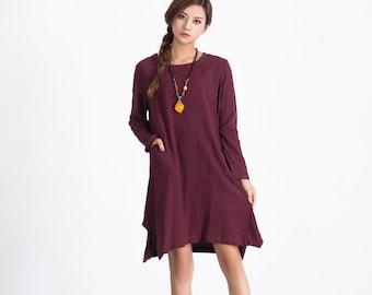 Wine Red Women's midi dress long sleeve oversize loose linen cotton caftan Summer Dress With Pockets plus size linen kaftan clothing A61