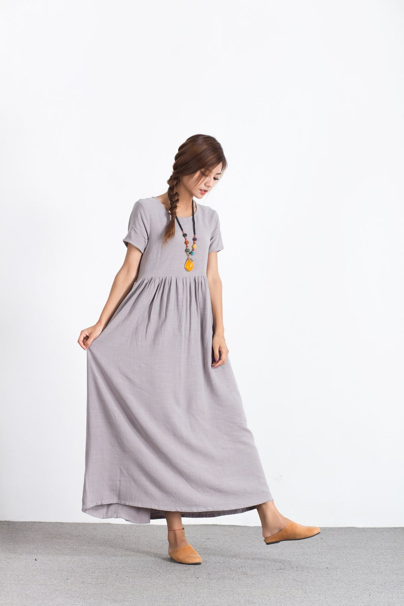 e52e33660cb Women s linen maxi dress light gray linen cotton kaftan