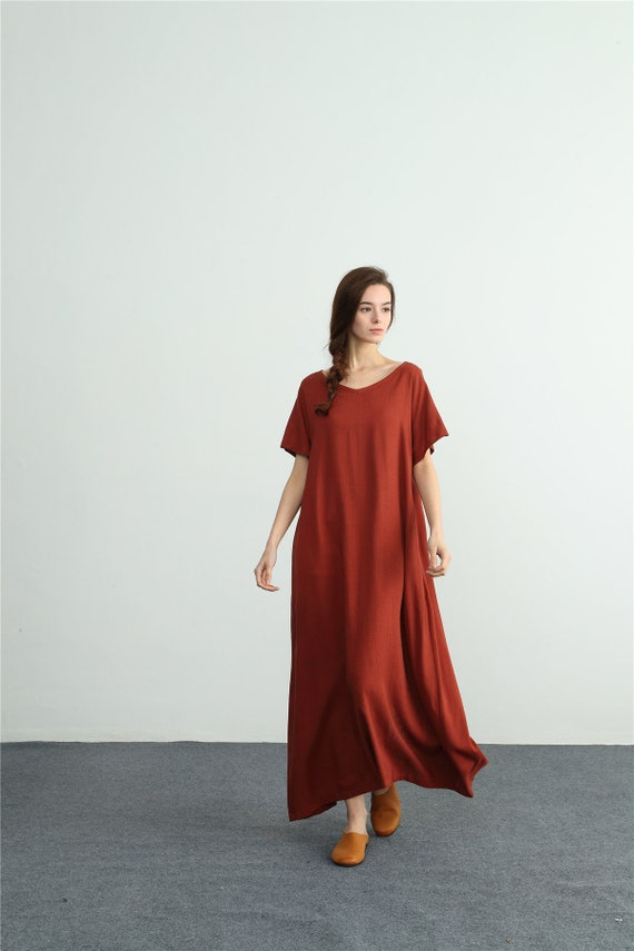 5a6144b61de16 Women s linen maxi dress loose oversize bridesmaid dress