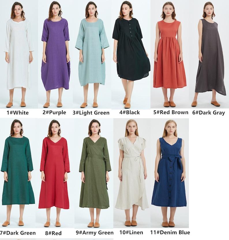 100/% linen women dress wrap long sleeve V neck midi dress Linen tunic Washed soft linen Loose casual summer dress robe women R17