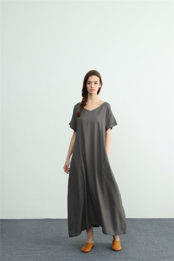 Dark Gray Women\'s linen dress Short Sleeves Summer maxi Dresses loose linen  cotton kaftan oversize bridesmaid dress plus size clothing A89