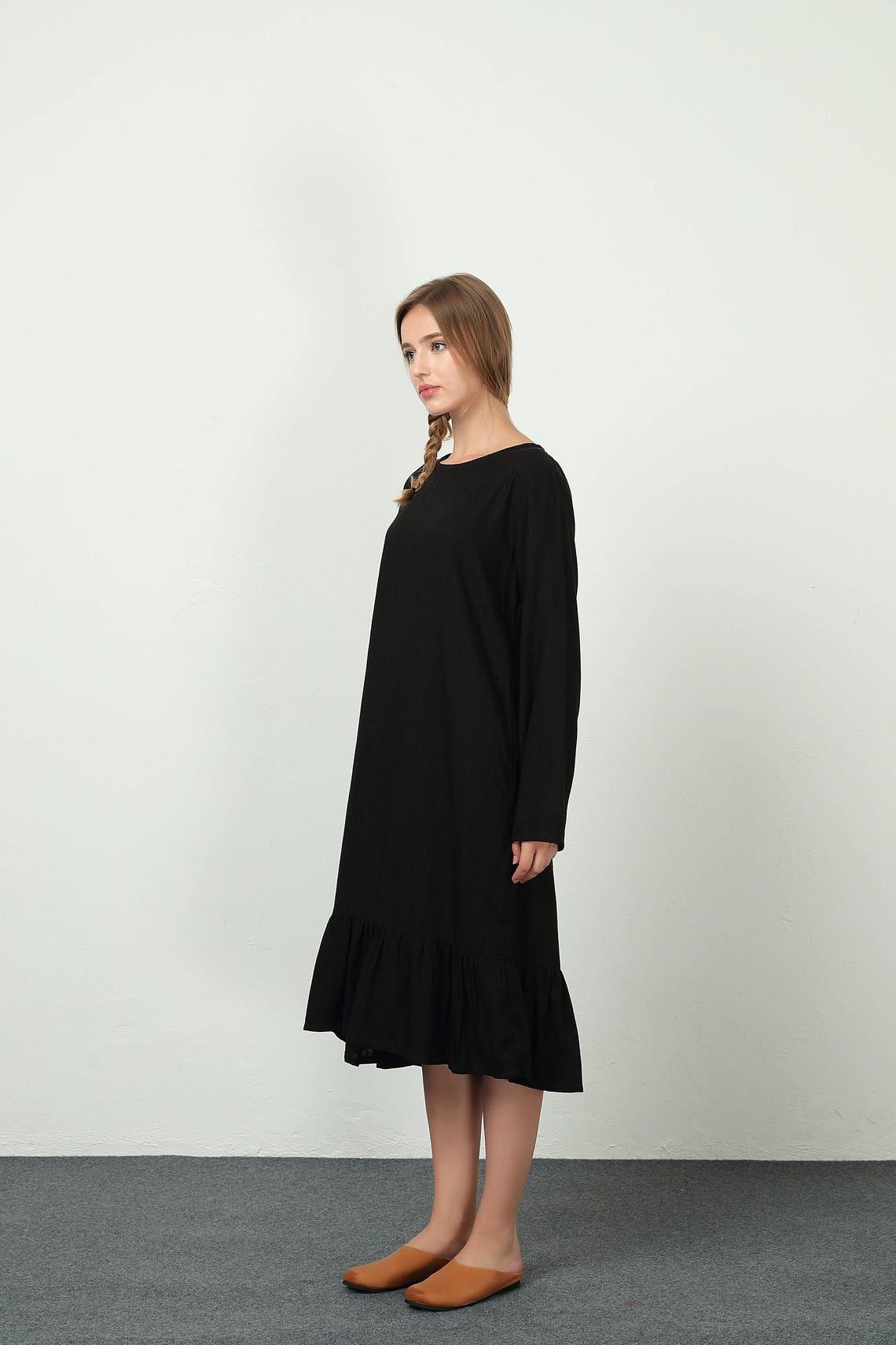Women's Loose long sleeves maxi dress scoop neck cotton