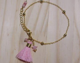 Gold pink charm bracelet