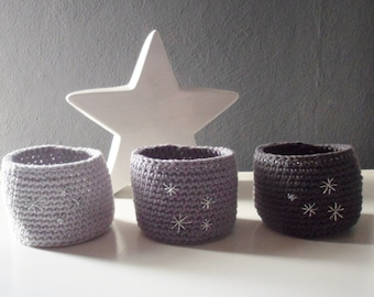 Trio of shades of gray crochet weave