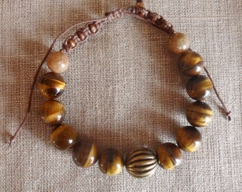 Mens bracelet, Tiger's eye, Brown