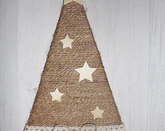 Linen, wood and sisal tree decoration