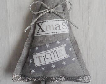Grey linen, Silver Bow Christmas tree door cushion