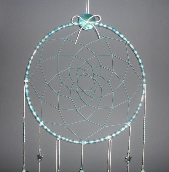 Dream Catcher Keychain Woven Design with Feathers Beads Blue Gray Green