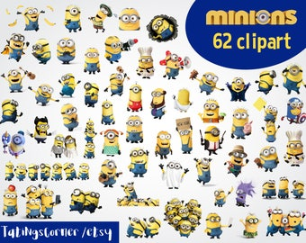 62 Minions Clipart - Minions Clipart - Printable Minions PNG Images - Digital Minions Clip Art background - Minion Scrapbooking - Minions