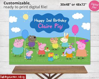 Peppa Pig - Peppa Pig backdrop - Peppa pig decor - Peppa Pig birthday - Peppa Pig party - Peppa Pig PRINTABLE - Peppa Pig poster