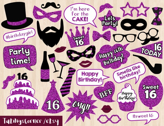 16th Birthday Photo Booth Props Sweet Sixteen Props Etsy