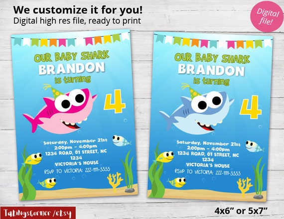 Baby Shark Invitation Birthday