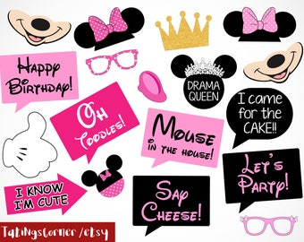 Minnie - Minnie Mouse - Disney - Minnie Photo Booth Props - Minnie Party - Clubhouse - Minnie birthday party props - Instant Download