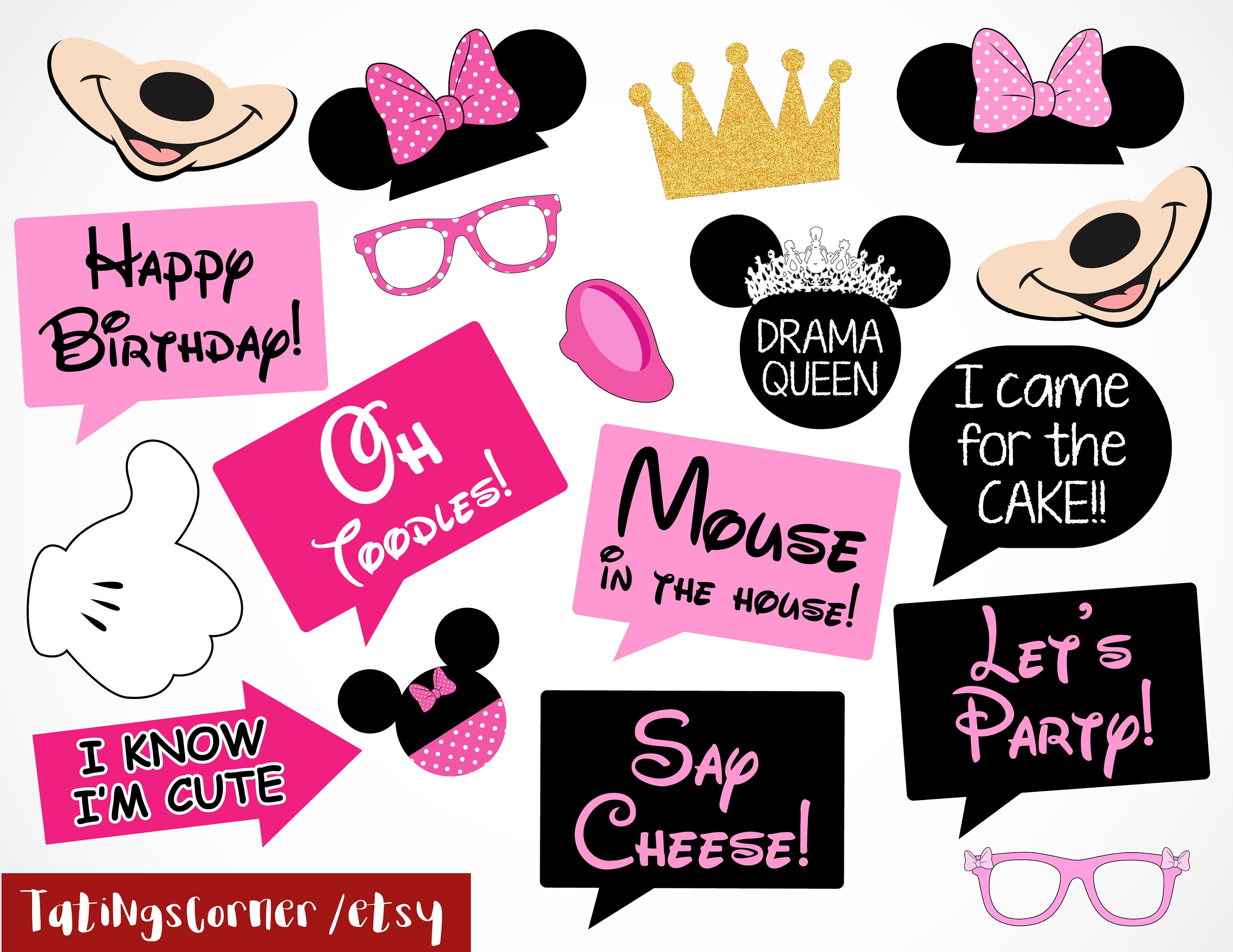 Minnie Minnie Mouse Disney Minnie Photo Booth Props | Etsy