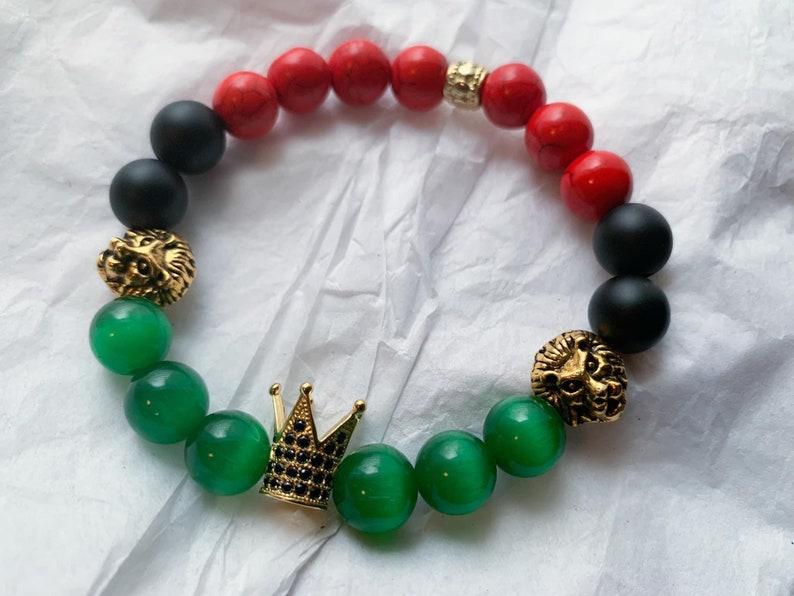 and Green. Black King Matte Onyx Crown Bracelet 10mm Red