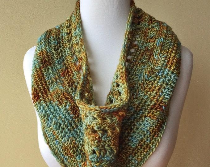 'Verdigris' Crochet Cowl, Fine Merino Wool