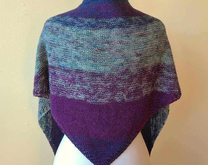 'Crushed Sapphires' Reversible Knit Shawl