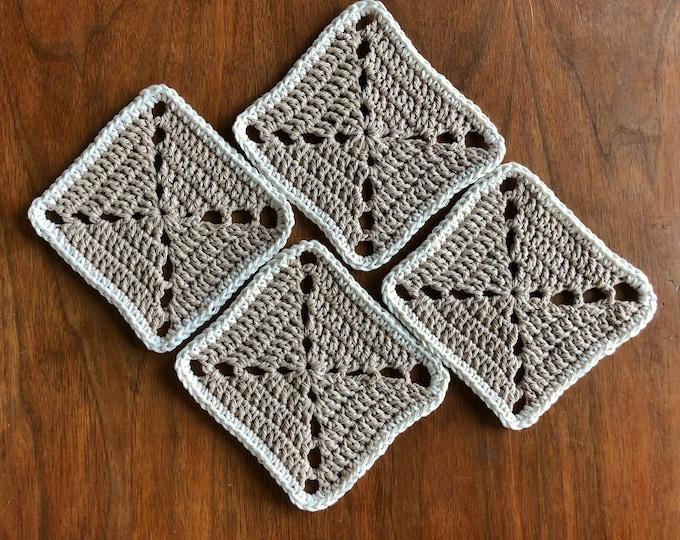 Set of 4 Tan/Ivory Cotton Coasters