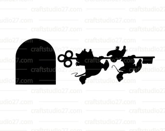 Digital file Disney mice Gus and Jaq running with key Cinderella and mousehole Silhouette Cameo Cricut Brother en print
