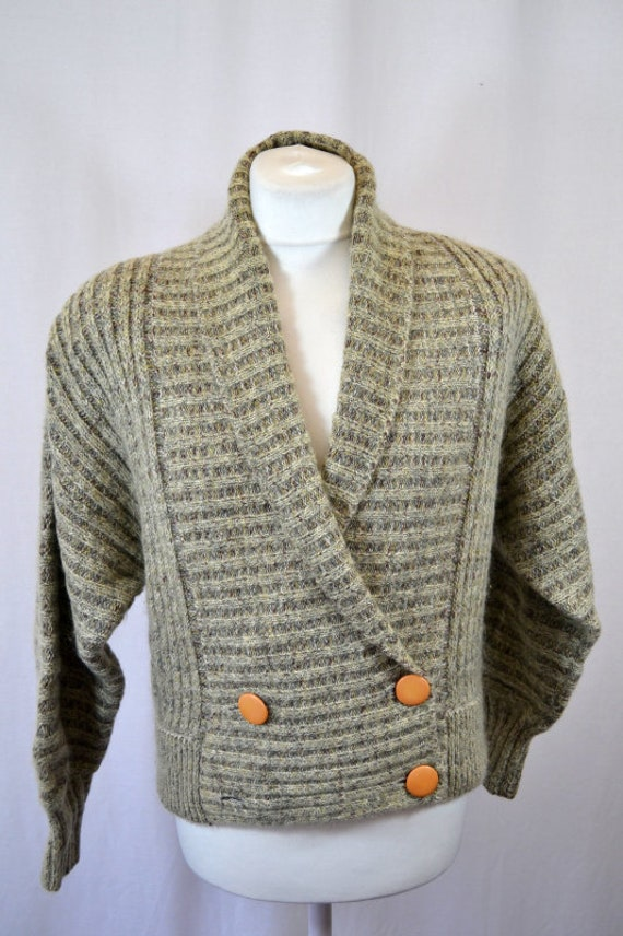 Retro Cropped Grey 80's 90's Cardigan Top - image 3