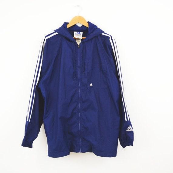 De Des 90 Années Vintage Bleu Capuche Adidas Doublé Pluie Mac Marine yY7gIbvf6m
