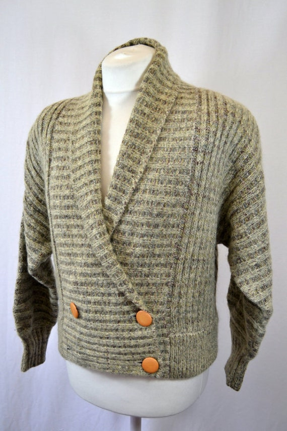 Retro Cropped Grey 80's 90's Cardigan Top - image 2